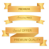 Sale banner design. Collection of golden banners for promotion, Royalty Free Stock Images