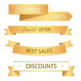 Sale banner design. Collection of golden banners for promotion, Stock Image