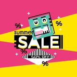 Sale banner design creative template trendy colors royalty free illustration