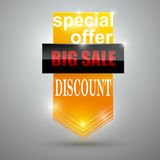 Sale banner design. Orange trendy discount poster, special offer Royalty Free Stock Photo