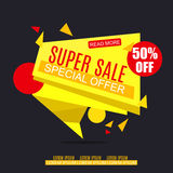 Sale Banner Design. Sale Vector Tag for Promotional brochure,poster,advertising shopping flyer, discount,banner. Royalty Free Stock Image