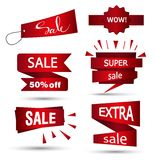 Sale banner design. Set of beautiful red discount and promotion banners. Advertising element. Sale banner tag. Sale banner art. Ve. Ctor illustration, eps 10 Stock Photos