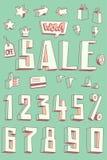 Sale banner design set. Set of 3D pseudo doodles for Sale promo. Vector cartoon illustration Royalty Free Stock Images