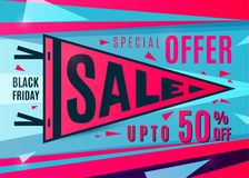 Sale banner design. Sport pennant typography concept. Stock Photography