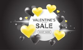 Sale banner design with yellow and black 3D heart balloons on dark background. Valentine's day. Valentine's day sale banner design with yellow and black 3D Royalty Free Stock Photos