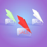Sale banner designs with paper planes Royalty Free Stock Photography