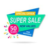Sale banner discount colorful design. On a white background Stock Photography