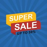 Sale banner discount illustration. Stock Photography