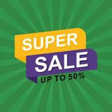 Sale banner discount illustration. Stock Image