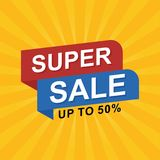 Sale banner discount illustration. Stock Photos