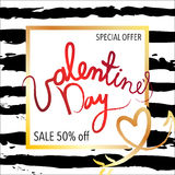 Sale banner with discount offer for Happy Valentine`s Day celebration. Vector illustration Royalty Free Stock Image