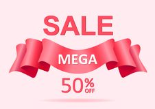 Sale banner discount pink design. Exclusive sale banner discount original pink design Stock Images