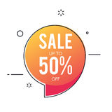 Sale banner, discount up to 50. Special offer sign for the price tag. Vector illustration of a fashionable style isolated on white background royalty free illustration