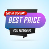 Sale banner, end of season, best price. Vector illustration Royalty Free Stock Images