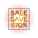 Sale banner on explosion abstract background with gold glittering elements. Sale save up to 70 percent. Dust firework Stock Image