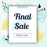 Sale banner with fashionable hand drawn style background. Cold colors. Advertisement design template. For social media, stores and shops Stock Photos