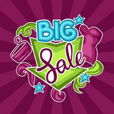 Sale banner with female clothing and accessories.  Royalty Free Stock Images