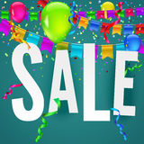 Sale banner on festive background. With party flags, garlands and confetti. Editable vector Stock Image