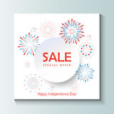 Sale. Banner, firework in red and blue color, white round paper frame. Festive poster, marketing banner, National Holiday s gift card vector template Stock Image