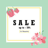 Sale banner with floral ornament. Can be used for voucher, wallpaper,flyers, invitation, brochure or coupon discount Stock Images