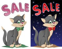 Sale banner with funny cat in a bow tie. On dark background and isolated on white. Cartoon styled vector illustration. No transparent objects. Elements is Royalty Free Stock Photos