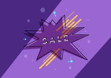 Sale banner with geometric abstract composition. Vector illustration. royalty free illustration