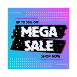 Sale banner glitch effect template design royalty free illustration