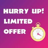 Sale banner with golden stopwatch on bright gradient background. Hurry up. Limited offer. Vector illustration royalty free illustration
