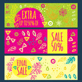Sale banner hand drawn Stock Images