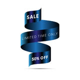 Sale banner limited time only fifty percent off white text. On blue ribbon  on white background. Vector illustration Stock Images