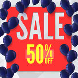 Sale banner on low poly background with inflatable balloons for luxury sales offers. Stock Photography