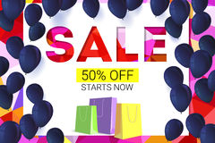 Sale banner on low poly background with inflatable balloons and paper, colored shopping bags for luxury sales offers. Modern, colorful design with red and Stock Photography