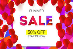 Sale banner on low poly background with inflatable balloons and typography for luxury sales offers. Stock Photography