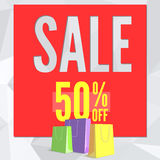 Sale banner on low poly background with paper, colored shopping bags for luxury sales offers. Modern, colorful design with red and yellow inflatable balloons Stock Image