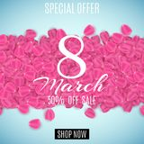 Sale banner for 8 March. Special offer. Happy Womens Day sale. Petals of tulip on a light blue background. Big discounts. Vector i. Llustration. EPS 10 Royalty Free Stock Images