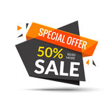 Sale banner. Marketing background. Big sale tag. Modern  poster. Special offer 50 percents off. Vector illustration. Stock Image