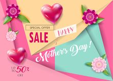 Sale banner Mothers Day floral decoration Stock Photo