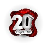 Sale 20% banner original design white and red and snow. Paper art craft style. Original design white and red and snow. Paper art craft style Royalty Free Stock Images