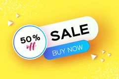 Sale Banner in paper cut style. Origami discount tag, special offer, buy now. Graphic element on yellow. Space for text. Vector vector illustration