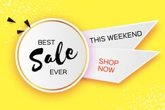 Sale Banner in paper cut style. Origami discount tag, special offer, buy now. Graphic ribbon element on yellow. Space. For text. Vector vector illustration
