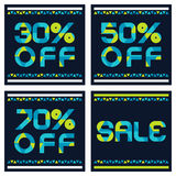 Sale banner with 30, 50, 70 percent discount. Abstract vector ba. Ckground with blue and yellow triangle pattern Royalty Free Stock Photos