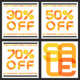 Sale banner with 30, 50, 70 percent discount. Abstract vector ba. Ckground with orange triangle pattern vector illustration