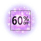 Sale banner 60 percent off on abstract explosion background with purple glittering elements. Burst of glowing star.  Stock Images