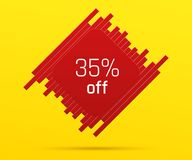 Sale Banner with 35 percent Off. Offer of Price Discount on Figure consisting of Bars with Metallic Red Color, on the Yellow Background Royalty Free Stock Photo