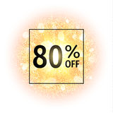 Sale banner 80 percents off on abstract explosion background with gold glittering elements. Burst of glowing star. Dust. Firework light effect. Sparkles splash vector illustration