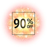 Sale banner 90 percents off on abstract explosion background with gold glittering elements. Burst of glowing star. Firework light effect. Sparkles splash Royalty Free Stock Photography