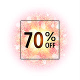 Sale banner 70 percents off. Abstract explosion with gold glittering elements. Burst of glowing star. Dust firework. Light effect. Sparkles splash powder Stock Photo