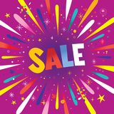SALE banner poster. With burst explosion Stock Photography