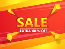 Sale banner or poster design with Extra 40% discount offer and 3d geometric element. Sale banner or poster design with Extra 40% discount offer and 3d geometric vector illustration