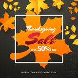 Sale banner or poster design, Upto 50% offer for Thanksgiving da. Y celebration concept with illustration of maple or autumn leaves on grey texture background vector illustration